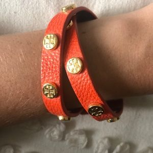 Tory Burch orange logo wrap bracelet